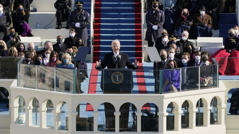 A photo of Joe Biden at his inaugural on Jan. 20, 2021.