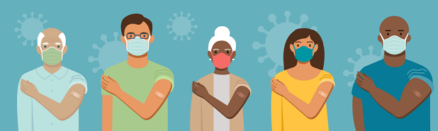 An illustration of 5 people who have received a COVID booster shot.