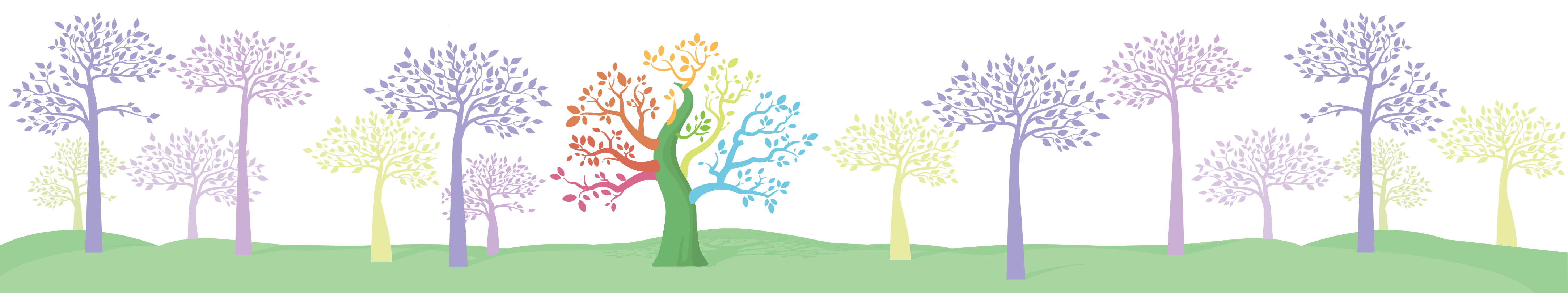 A drawing of trees illustrating how one tree can incorporate characteristics from a nearby tree (variants).