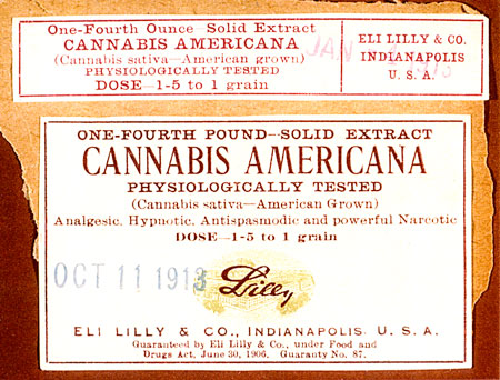 Photo of Cannabis Package Label from 1913