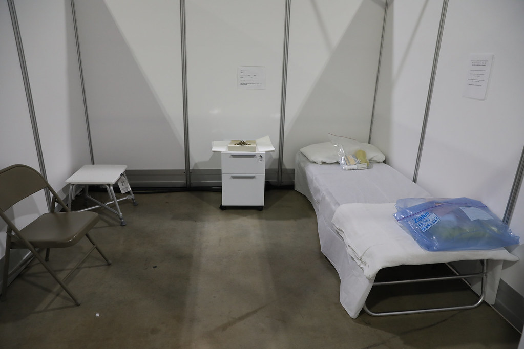 A patient room in a field hospital in Atlantic City, NJ.