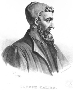 Lithograph of Roman physician Galen from Pergamon, Turkey, the most famous medical researcher of classical antiquity.