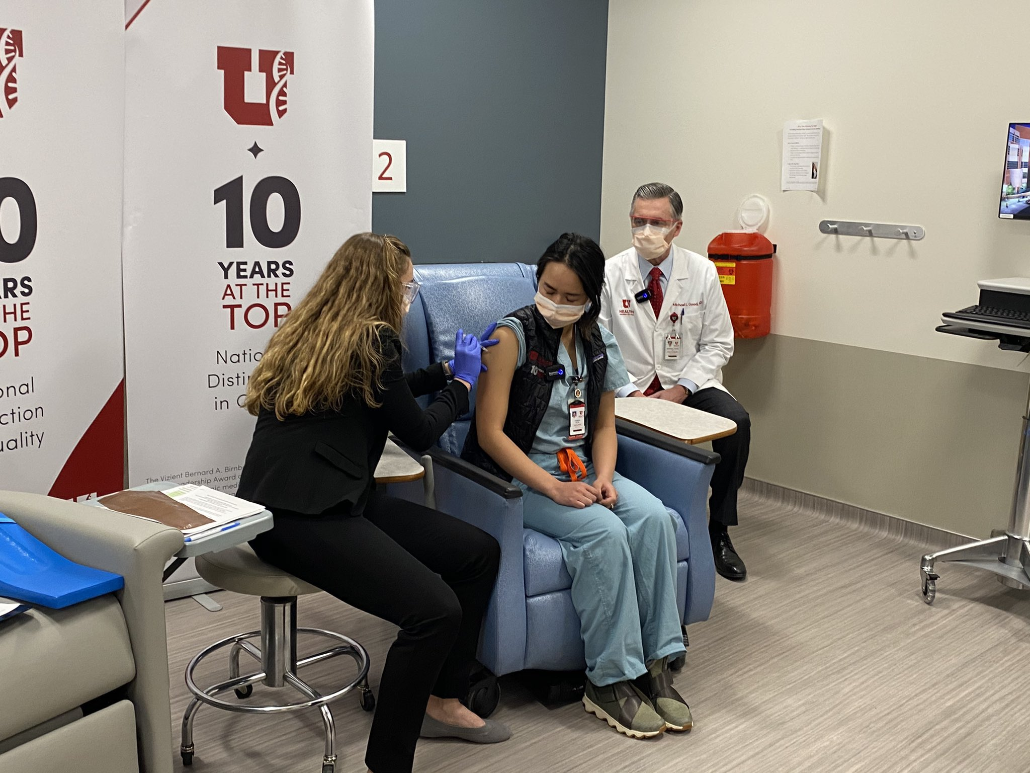 University of Utah nurse receiving a COVID vaccine.