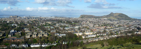 A view of Edinburgh, Scotland from Blackford Hill.