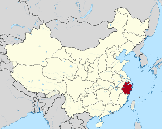 Map of Zhejiang Province in China