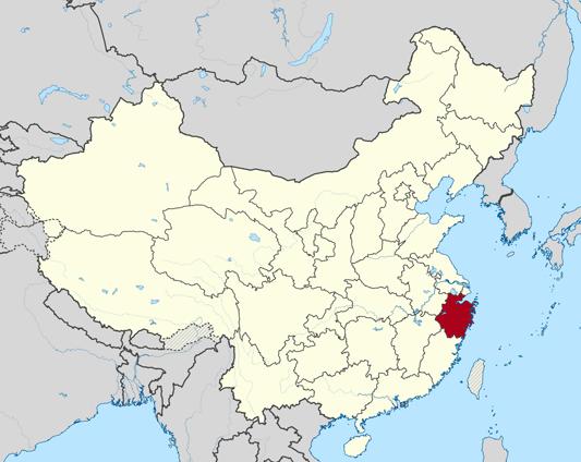 Map of Zhejiang Province in China