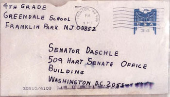 A photograph of a envelop containing anthrax powder sent to Senator Daschle.