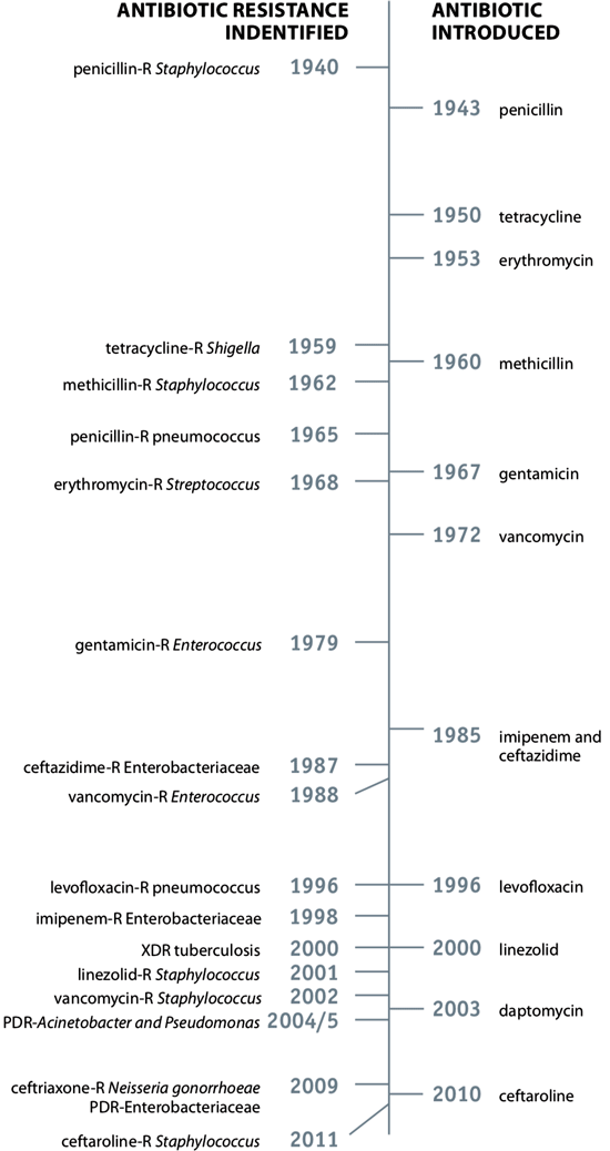 chart showing a timeline of introduced antibiotics and identification of antibiotic resistances
