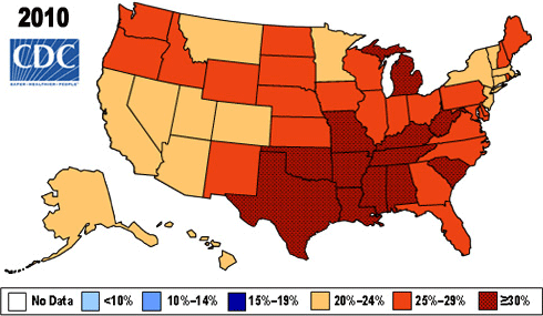 A map of the U.S. showing change in the prevalence of obesity from 2005-2010.