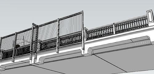 drawing of bridge suicide barrier