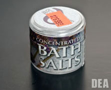 A jar of bath salts with a misleading label.
