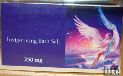 Colorful and misleading packaging advertising designer bath salts.