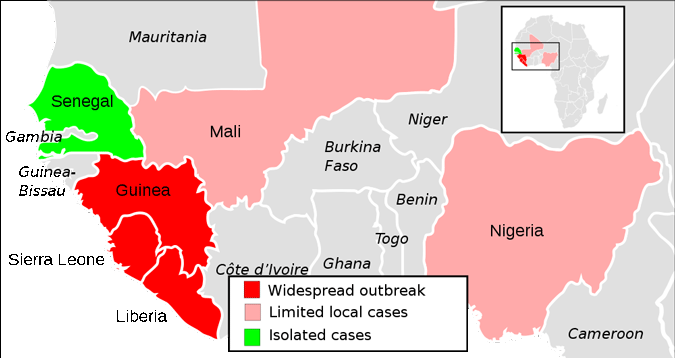 Graph Showing Extent of Ebola Epidemic in West Africa in 2014