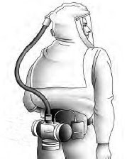 A drawing of a Powered Air-Purifying Respirator Hood (PAPR).