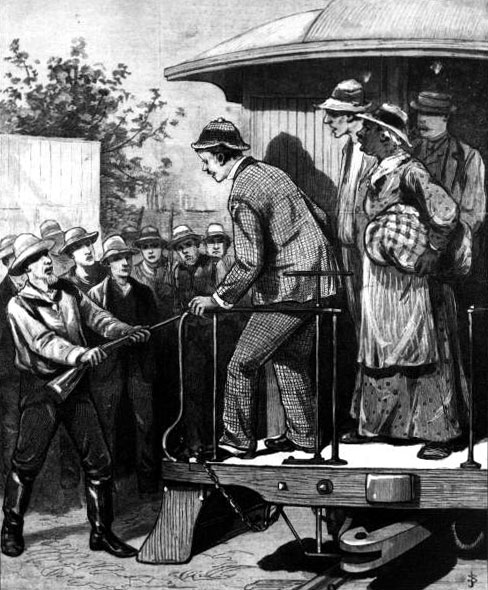 An 1888 drawing of people fleeing a yellow fever pandemic in Florida being prevented from entering New York.