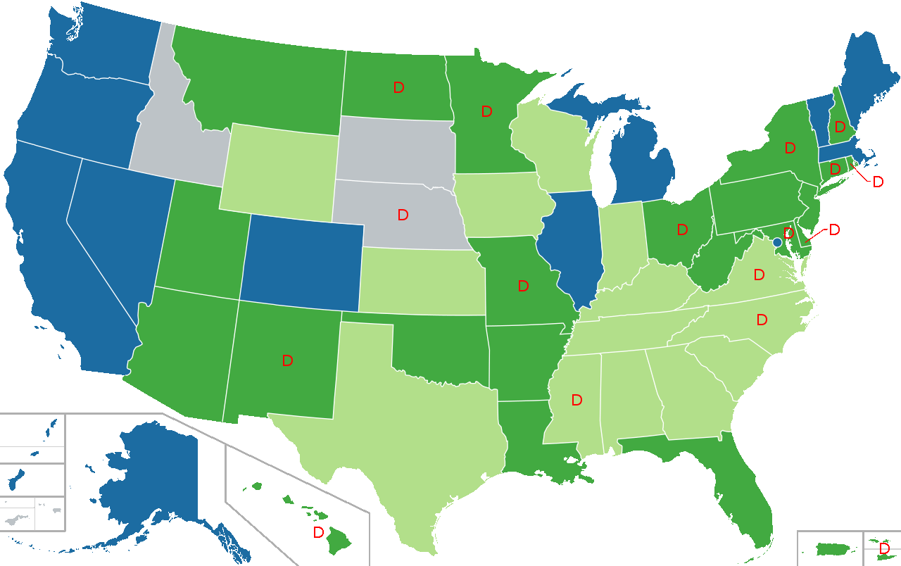 Map Showing Legal Status of Cannabis in US States