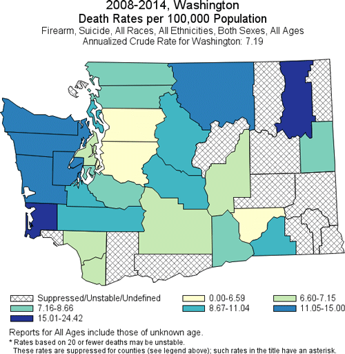 map of suicide death rates by firearm in Washington
