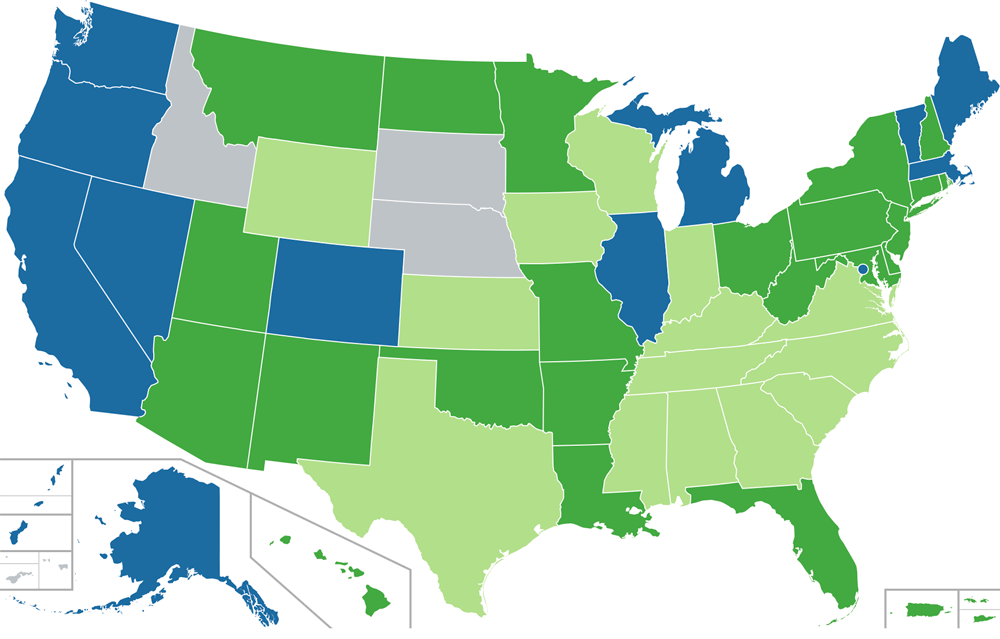 Map Showing Medical Status of Cannabis and CBD in the US as of May 2020