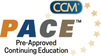 Certified case manager logo.