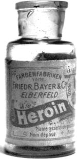 A photograph of Bayer Heroin bottle, originally containing 5 grams of Heroin.
