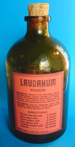 A photograph of a 100-ml bottle of laudanum poison.