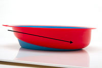 A plate with a slanted bottom can help users to gather food on one side without scooping.
