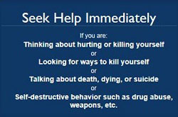 image: poster titled Seek Help Immediately