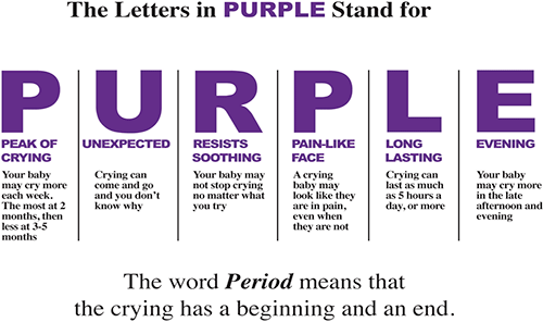 A chart explaining the Period of PURPLE Crying program.