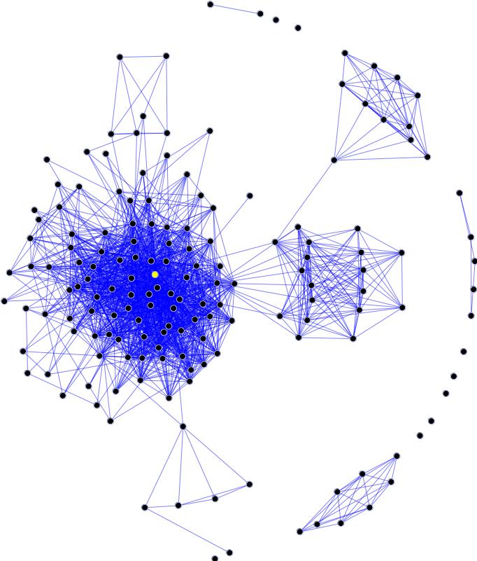 A diagram of a social network.