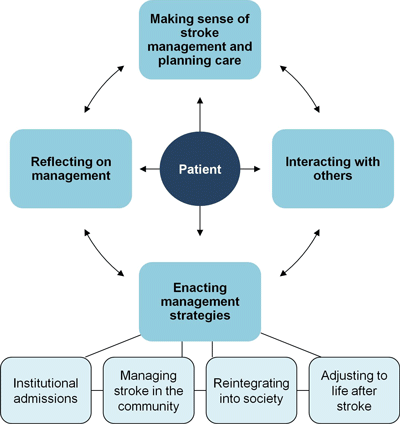 A chart showing issues associated with stroke management and care planning.