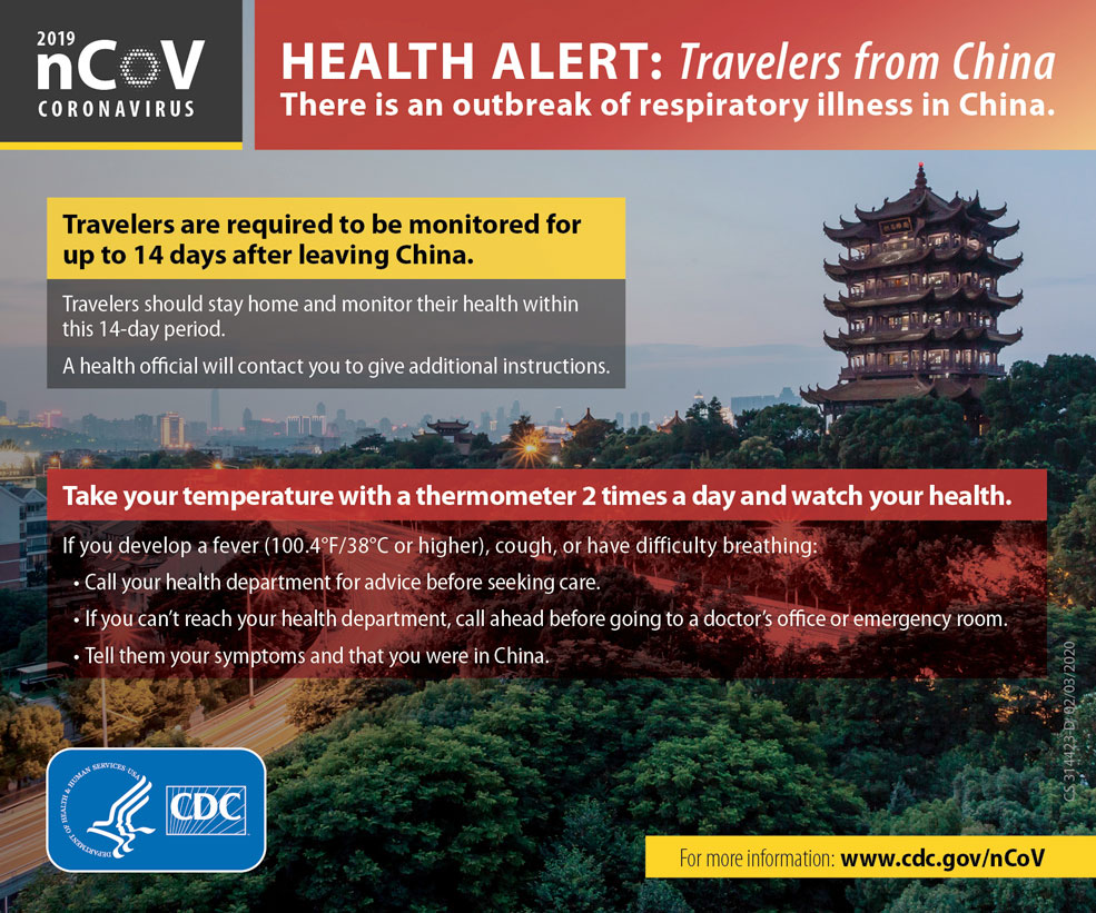 Health Alert Card for Tavelers from China