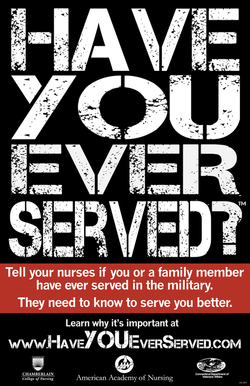 "A poster saying ""Have You Ever Served?""."