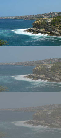 Three photos of the coastline showing progressive loss of visual acuity.
