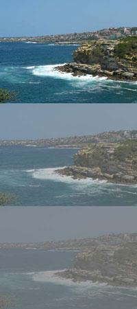 Three photos of the coastline showing progressive loss of visual acuity.