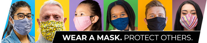 Six people wearing masks.